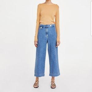 Zara Premium Denim Marine Culotte Jeans Size 4